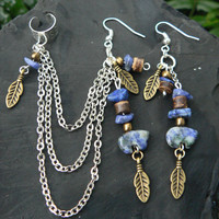 Sodalite gemstone zuni bear chained ear cuff blue sodalite gemstone cross cuff in boho gypsy hippie hipster  and tribal style