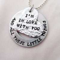 Hand Stamped One Direction Necklace, I'm In Love With You And All These Little Things, Heart and Washer