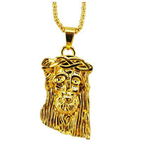 Bling Big and Heavy 24K Gold Plated Jesus Piece Necklace Hip pop Jesus Pendant+75 CM Chain