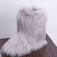 Silver Ankle Boots For Women Faux For Fur Snow Boots Women Winter Warm Fur Shoes Ankle Boots Women Boot Punk Shoes Female