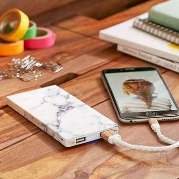 White Marble 8000 mAh Portable Power Charger