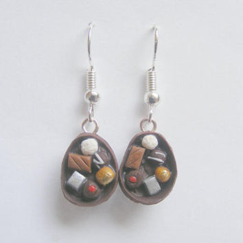 Food Jewelry Easter egg earrings, Candy earrings, Chocolate egg, Miniature Food Earrings, Chocolate egg, Miniature Food Jewelry,Mini Food