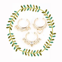 Tribal Clip On Nose Ring Set, Gold Faux Septum Piercing