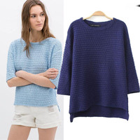 Half Sleeve Pullovers Knitted Sweater