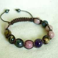 Rhodonite Amethyst Tiger Eye Bracelet, Mixed Stones Womens Earthy Bracelet, Handmade Adjustable Shamballa Bracelet