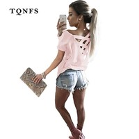 TQNFS Sexy Hollow Out T Shirt Women 2017 Fashion Short Sleeve Off The Shoulder Tops O Neck Cold Shoulder Tee Shirt Femme