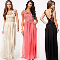 Lace Paneled Chiffon Maxi Dress in Cream Black and Watermelon Red