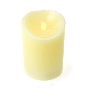 Flameless Wax Pillar LED Candle, Warm White, 4-1/2-Inch