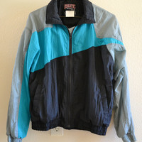 Retro Multicolored Jacket Oversized 90's Vintage Medium