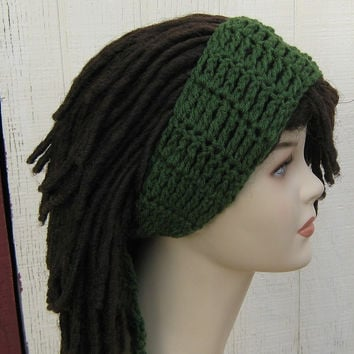 Thyme Green Dread headband dreadband head hair band wrap scarf hippie bandana
