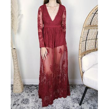 Say My Name Embroidered Maxi Dress in Deep Red
