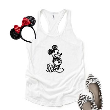 Mickey Sketch - Disney Christmas | Racerback Tank