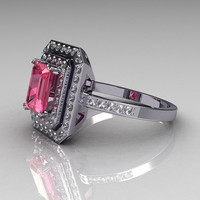 Modern 14K White Gold 1.0 CT Emerald Cut Rose Topaz 0.40 CTW Round Pave Diamond Double Halo Ring R83-14WGDRT