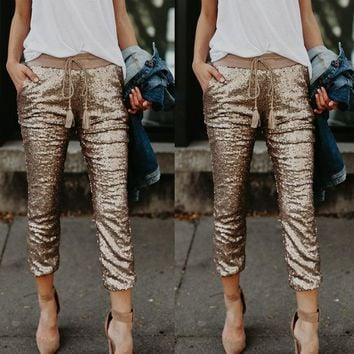 Women's Joker Sequins Elasticated Waist Pants
