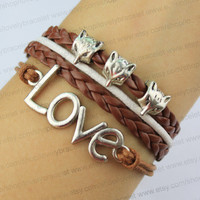 Silver love, three lovely fox head bracelet, brown leather, wax rope friendship gift