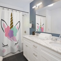 Unicorn Shower Curtains, living, shower curtain, panel, bathroom, shower curtains ,shower panel, bathroom decor, custom bath