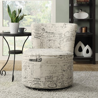 Vintage French Fabric Accent Chair with Swivel Base