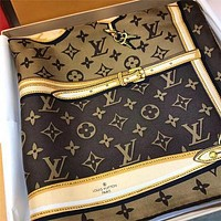 "LV ""Louis Vuitton"" Popular Women Men Silk Smooth Scarf Louis Vuitton Women Silk Kerchief Cape Scarf Scarves Shawl I"