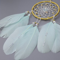 Gold and Mint Dream catcher,  Moonstone, Car Accessory , Rear View Mirror, Car Charm, Small Car Dream catcher