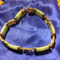 "VINTAGE 14K GOLD Jade Bracelet 8"" YG China Green Estate Antique Stamped"