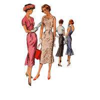 1950s Retro Vintage Sewing Pattern McCall's Fitted Sheath Wiggle Dress Bolero Flared Skirt Cocktail Party Dress Fishtail Hem Bust 32
