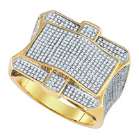 Diamond Micro Pave Mens Ring in 10k Gold 1.27 ctw