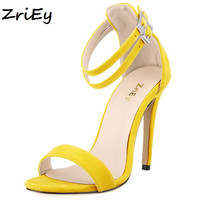 ZriEy plus size 35-42 Gladiator Cross Strap sandalias women sandals high heels candy pumps summer shoes woman wedding BY17666