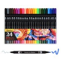 Art Soft Brush Pen Markers Supplies for Adult Coloring Books Dual Tip Premium Colored Water-Based Pens Drawing Sketch Painting