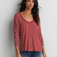 AEO Soft & Sexy Drop Shoulder T-Shirt, Cherry