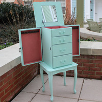 Shabby mint green vintage wood jewelry armoire - Standing armoire, jewelry organizer, girls room furniture, painted jewelry box, vanity