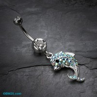 Sweet Sparkle Dolphin Belly Button Ring