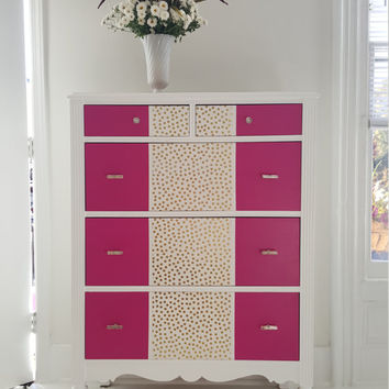 Pretty painted dresser, vintage, fushia and gold polka dots