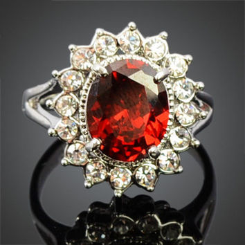Ruby Red Crystal White Gold Ring | 18K Gold Plated Ring | Crystal Halo Ring | US size 7.25 | July Birthstone | Wedding Ring | Promise Ring