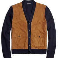 Men's Suede and Lambswool Button-Front Cardigan | Brooks Brothers