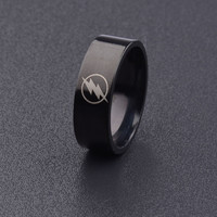The Flash Symbol Titanium Stainless Steel Polished Ring