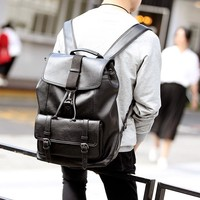 ETONWEAG New 2017 Men Fashion Backpacks Crazy Horse PU Leather Rucksack School Bag Men's Casual Travel Laptop Bag Backpack
