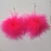 Pom Earrings, Feather Earrings - Pink Fluffy Feather Earrings, Pom Pom Earrings, Pastel Goth - Kawaii - Harajuka