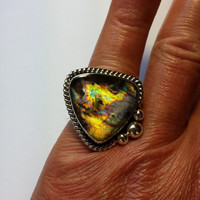 Blue Multi Color Labradorite Statement Cocktail Steriling Silver Ring Size 8 Metaphysical Crystal