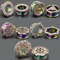Hot sell new fashion copper ear plugs and tunnels piercing gauges body jewelry colorful stretchers SS-1803