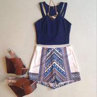 Halter Neck Print Two Piece