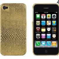 Gold Reptile Skin Case for Apple iPhone 4, 4S (AT&T, Verizon, Sprint) - Includes 24/7 Cases Microfiber Cleaning Cloth [Retail Packaging by DandyCase]