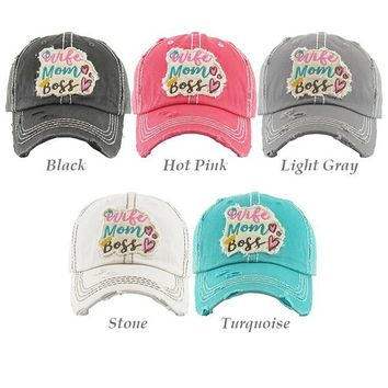 Wife Mom Boss Washed Vintage Ball Cap