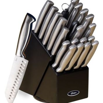 Kitchen Knife Set 22 pc Stainless Steel Knives Black Wood Block Oster Cutlery