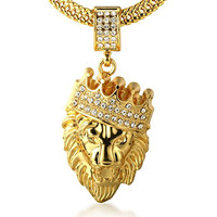 "Halukakah Men's 18k Stamp Real Gold Plated ""KINGS LANDING"" Heavy Made Crown Lion Pendant Necklace with FREE SharkTail Chain 30"""
