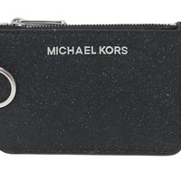 Michael Kors Small Top Zip Coin Pouch ID Mini Wallet Black Glitter Leather $138
