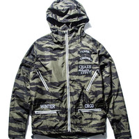 Green Camo Print Letter Embroidery Hooded Jacket