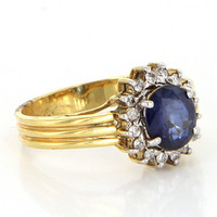 Vintage 14 Karat Yellow Gold Diamond Sapphire Princess Cocktail Ring Estate Jewelry