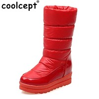 Coolcept Size 34-43 Women Thick Fur Shoes Snow Boots Warm Wedges Boots For Cold Winter Shoes Half Short Boots Women Footwears