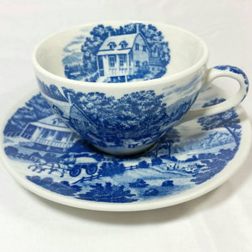 Vintage Nasco Hand Painted Homestead Japan Tea Cup and Saucer/Blue and White Teacup/Country Chic Farm Teacup/Cow Wagon Tree Cup and Saucer