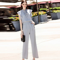 Work Jumpsuits 2016 Summer Bow Collar Solid Gray Fashion Novelty Loose England Style Elegant Jumpsuits